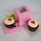 1 Window Pink Cupcake Box w finger hole ($1.50/pc x 25 units)