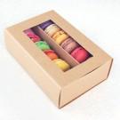 12 Kraft Brown Window Macaron Boxes ($2.60/pc x 25 units)