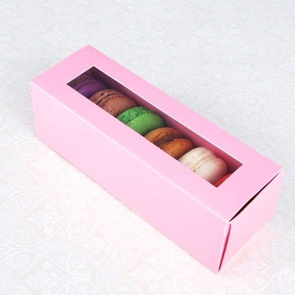6 Pink Window Macaron Boxes($1.90/pc x 25 units)