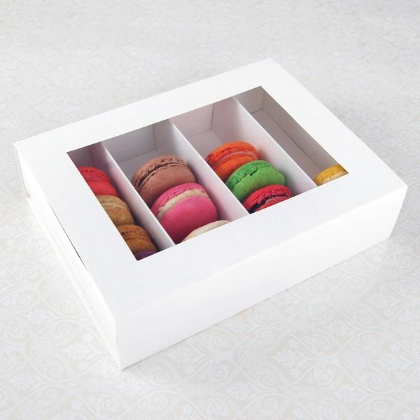 24 Macaron White Window Boxes ($3.90/pc x 25 units)