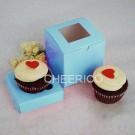1 Window Baby Blue Cupcake Box w finger hole ($1.20/pc x 25 units)